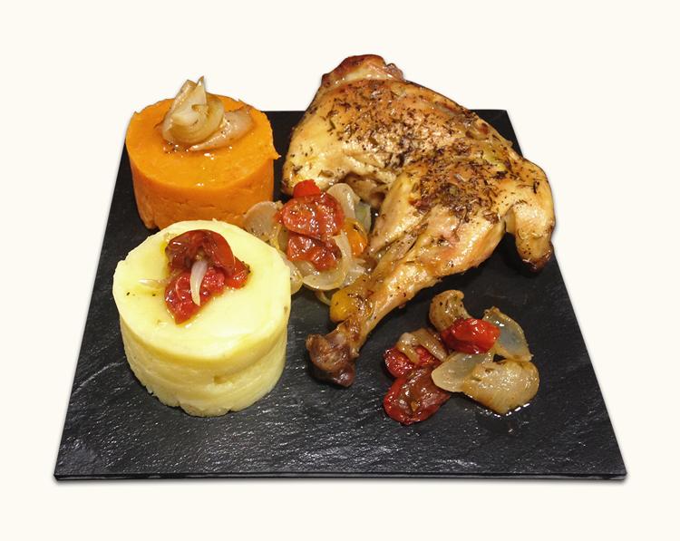 Pollo al horno con puré de patata y boniato